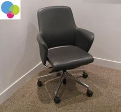 Senator Leather Armchair Net Price Real grey leather Chrome frame Chrome base on castors Freeflow back Real quality chair Buy Used Furniture, Office Furniture, Used Chairs, Grey Leather, Armchair, Chrome, Base, Stuff To Buy, Home Decor