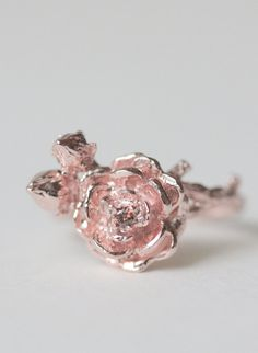 Sterling silver rose ring, rose gold ring, statement ring, flower ring, brown diamond ring, silver ring, jewelry, christmas, gift, autumn
