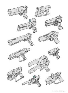 ArtStation - Sketch for fun, Dipo Muh. Useful for Clean Nuke weapons and E-type for ITW Robot Concept Art, Weapon Concept Art, Robot Art, Drawing Reference Poses, Design Reference, Drawing Tips, Mode Cyberpunk, Character Design Inspiration, Art Tutorials