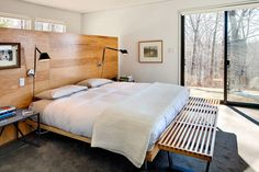 from GH&D nyt.  remodel by architect and owner Mr. Billinkoff.  love room divider/headboard and lights...and bench!