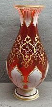 Antique Bohemian Moser Ruby White Overlay and Gold Gilded Vase