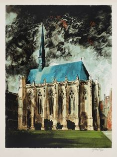 """transistoradio: """"John Piper Exeter College Chapel, Oxford screenprint on paper, 71 x 93 cm. Collection of Tate, UK. Via Tate. Oxford England, Edward Hopper, John Piper Artist, Exeter College, Coventry Cathedral, Royal College Of Art, A Level Art, Art And Architecture, Landscape Art"""