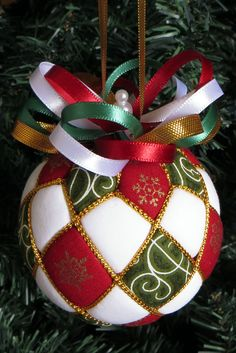 Argyle Christmas Ornament - Red Green and White by OrnamentDesigns on Etsy