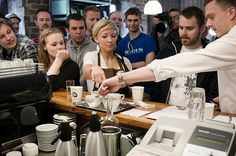 Tim Wendelboe and the jury pointing out their favourite cup in the World Aeropress Championship.