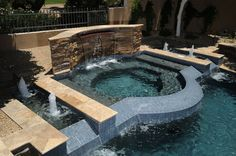 Dry Stack Stone Swimming Pool Fountain Dallas Luxury Swimming Pools Pinterest Pool