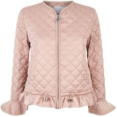 Pinko Quilted Satin Jacket (€365) ❤ liked on Polyvore featuring outerwear, jackets, quilted jackets, collarless quilted jacket, drawstring jacket, collarless jackets and peach jacket