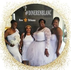 Classy all White Diner En Blanc Party in New Orleans Louisiana. These are 4 of New Orleans Natives. New Orleans Louisiana, All White, Beautiful Ladies, Classy, Formal Dresses, Party, Fashion, Dresses For Formal, Moda