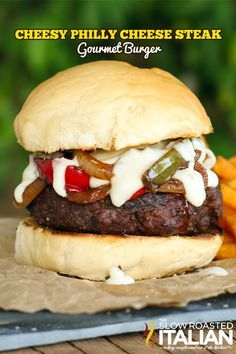 Cheesy Philly Cheese Steak Gourmet Burger from the slowroasteditalia... #dinner #beef
