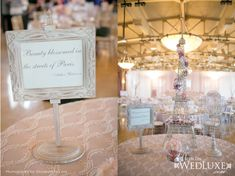 Parisian Themed Bridal Shower - As featured on Wedluxe (I would probably use these centerpieces for a wedding!)