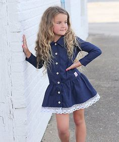Love this Denim & Lace Long-Sleeve Button-Up Dress - Girls on #zulily! #zulilyfinds