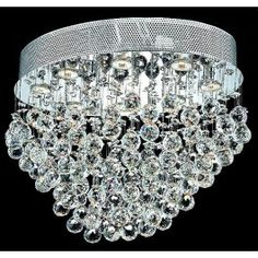 8 light polished chrome Contemporary Crystal Chandelier dressed with crystal ball