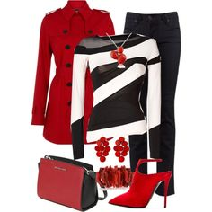 Red, Black, and White, created by jennifernoriega on Polyvore