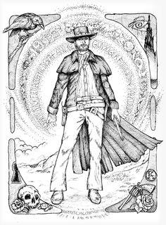 Gunslinger inspired by the Dark Tower books from Stephen King: Artwork Pen & Ink by Wendell Cisco II
