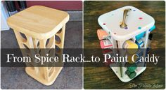 A brilliant storage idea for an old spice rack /  I see these spice racks occasionally at thrift stores and have always thought they'd be good for organizing...s omething. I decided to use one to corral craft paint and brushes, but they'd be great for glitter or sewing supplies