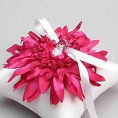 Wedding Ring Pillow - Pink flower bridal ring pillow, ring bearer, fushia ring pillow - Evelyn