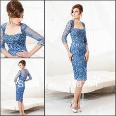 Sexy Sweetheart Three Quarter Sleeves Sheath Blue Lace Beaded Knee-Length Weddings&Events Mother Of The Bride Pant Suits Dress US $148.00