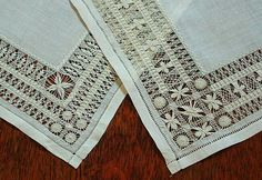 """Antique Linen Drawn Work Lace Doilies (corner detail) ~ likely worked as drawn work lace """"samplers"""" to show off exceptional skill in this art form. square ~ sold by Em's Heart Antique Linens Embroidery Patterns Free, Embroidery Needles, Hardanger Embroidery, Lace Embroidery, Drawn Thread, Linens And Lace, Lace Doilies, Embroidery Techniques, Needlework"""