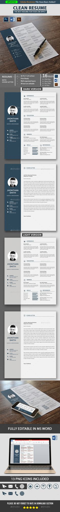 Professional Resume Template.Get your modern resume template for your job. This Resume template is clearly organized and labeled so you can be confident in getting the best results in the fast possible time. This resume file is in the Adobe Photoshop, MS Word and Adobe Illustrator so you can use program that you wish to edit the resume, and cover Letter.