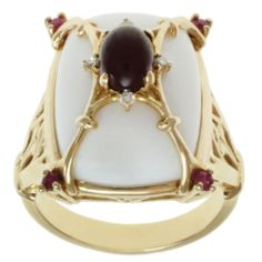 Michael Valitutti 14k Yellow Gold White Opal, Garnet, Ruby and Diamond Ring | Overstock.com Shopping - The Best Deals on Gemstone