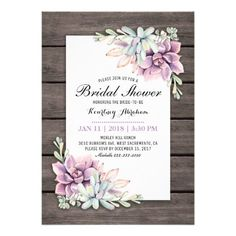 Country chic bridal shower invitations featuring a rustic wood barn background, a succulent corner display and a bridal text template. Click on the âœCustomize itâ button for further personalization of this template. You will be able to modify all text, including the style, colors, and sizes. You will find matching items further down the page, if however you can't find what you looking for please... -- Additional info #WeddingShowerInvitation