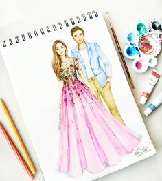 Aww so cute Dress Design Sketches, Fashion Design Sketchbook, Fashion Design Drawings, Fashion Sketches, Fashion Drawing Dresses, Fashion Illustration Dresses, Dress Illustration, Wedding Illustration, Sketch Background