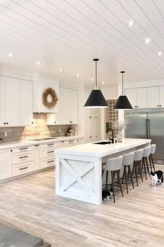 Kitchen Interior Design – Kitchen is a place for us to make favorite food. Therefore the kitchen must make us . Kitchen Design Open, Interior Design Kitchen, Open Kitchen, Kitchen Layout Design, Grey Interior Design, Long Kitchen, Kitchen Oven, Kitchen Black, Kitchen Storage