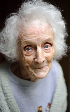 This photo makes me happy as although this lady is old and fragile she is happy. She has strong lines around the sides of the face and the forehead. This makes the skin look tired and stretched.