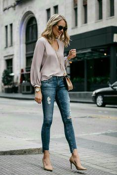 Fashion Jackson Street Style Blush Pink Cut Out Blouse AG Jeans Step Hem Distressed Skinny Ankle Jeans Sam Edelman Nude Pumps Chloe Drew Handbag Fashion Mode, Look Fashion, Fashion Trends, Fashion Ideas, Jeans Fashion, Feminine Fashion, Latest Fashion, Spring Fashion, Fashion Black