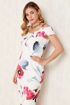 8f31031d51 Roman Originals Ladies Cold Shoulder Floral Dress Ivory Roman Originals,  Crepe Fabric, Summer Outfits