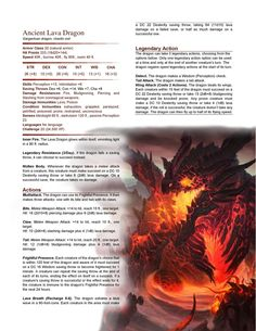 DnD Homebrew — Ancient Lava Dragon by xberfoul Dnd Dragons, Dungeons And Dragons 5e, Dungeons And Dragons Homebrew, Fantasy Creatures, Mythical Creatures, Dnd Stats, Dnd Classes, Dungeon Master's Guide, Dnd 5e Homebrew