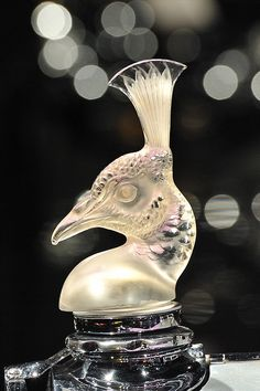 Tete de Paon (Peacock Head) car mascot or hood ornament by Rene Lalique, February 3, 1928