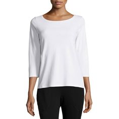 Eileen Fisher 3/4-Sleeve Cotton Tee ($61) ❤ liked on Polyvore featuring tops, t-shirts, white, white top, boatneck tee, white t shirt, 3/4 sleeve tee and sweater pullover