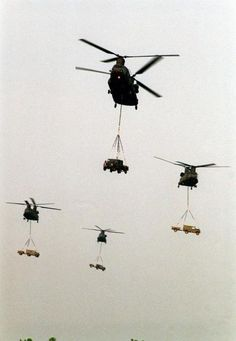 US Army CH-47 helicopters ferry in British Royal Marine Land Rovers during the helo insertion to Drop Zone Luzon near Fort Bragg N.C., where the British Royal Marines along with U.S. Marines were to conclude the CJTFEX '96.