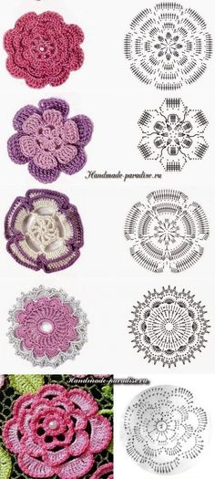 handmade-paradise.ru Irish Crochet Patterns, Crochet Motifs, Crochet Chart, Crochet Designs, Crochet Doilies, Diy Crochet Flowers, Crochet Flower Tutorial, Crochet Diy, Crochet Leaves