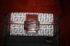 Classic Fendi Zucchino Wallet Clutch Continental Sale $470 Logo Leather Gift Rare