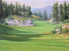 Predator Resort The Ridge Course Hole 9 by Rod McAuley Oil ~ 9 x 12