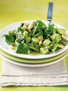 Spinach and avocado salad - www. Clean Eating, Healthy Eating, Healthy Food, Salad Recipes, Healthy Recipes, Salad Bar, Avocado Salad, Balanced Diet, Green Beans
