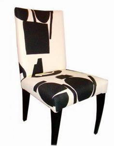 "This is a set of 6 modern Pace dining side chairs upholstered in an off white and black abstract graphic Donghia Fabric. The chairs are each 38"" high and 18"" wide. Additional measurements can be provided at customer request."