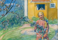 Carl Larsson. Girl with apple blossom