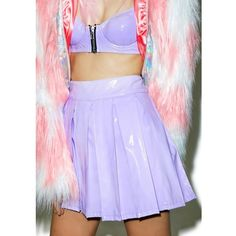24HRS X Dolls Kill Princess Pastel Vinyl Skirt (€59) ❤ liked on Polyvore featuring skirts, purple skater skirt, vinyl skirting, circle skirts, flared skirt and pastel skater skirt