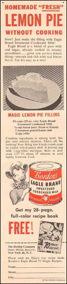 Lemon pie My grandmother and I use to make this☺️ Retro Recipes, Old Recipes, Lemon Recipes, Vintage Recipes, Cooking Recipes, Recipies, Simply Recipes, 13 Desserts, Lemon Desserts