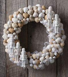 Bavarian Nutcracker Wreath made out of Diamond In Shell Walnuts! A beautiful DIY addition to your holiday decoration. Days To Christmas, German Christmas, Halloween Christmas, Christmas Projects, Holiday Crafts, Christmas Wreaths, Christmas Decorations, Holiday Decor, Christmas Ideas