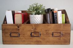 Rustic Wooden Book Caddy