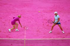 pink tennis court at the French Open