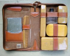 Men's Grooming Kit Travel Leather Case Mid by VintageJunkInMyTrunk, $20.00