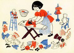 Illustration for Let's Play House, Lois Lenski Art And Illustration, Book Illustrations, Illustration Children, Vintage Children's Books, Vintage Art, Vintage Prints, Ligne Claire, Childrens Books, Illustrators