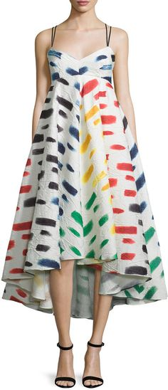 Milly Couture Brushstroke-Print Trapeze Dress