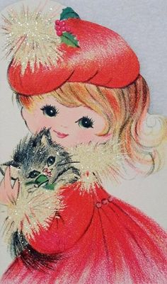 Prettty Girl w/ Cat & Glittered Fur-Vintage Christmas Card-Greeting. That's you Cate! Vintage Christmas Images, Old Fashioned Christmas, Christmas Past, Retro Christmas, Vintage Holiday, Christmas Pictures, Christmas Kitty, Vintage Greeting Cards, Christmas Greeting Cards