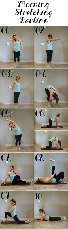 Rise and shine with this energizing morning stretching routine! 10 poses that will increase your flexibility, prevent pains, and increase blood flow. For More Yoga Routines and Health Tips Visit Our Website Fitness Hacks, Fitness Workouts, Yoga Fitness, Lower Ab Workouts, Butt Workout, Easy Workouts, Health Fitness, Workout Board, Workout Belt