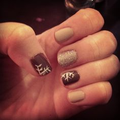 grey arty snowflake nails by @Rachel Bowers